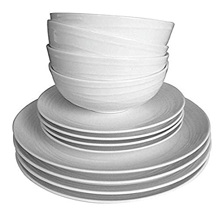 Tesco Casual Swirl Embossed Orbit 12 Piece 4 Person Porcelain Dinner Set White  sc 1 st  Amazon UK & Tesco Casual Swirl Embossed Orbit 12 Piece 4 Person Porcelain ...