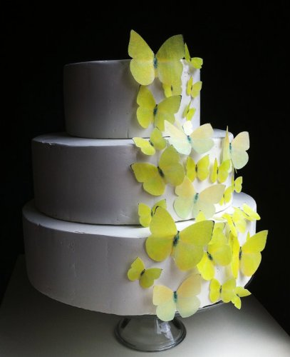 Edible Butterflies © - Set of 30 Yellow Buttercups- Cake Decorations, Cupcake Topper by Sugar Robot Inc.