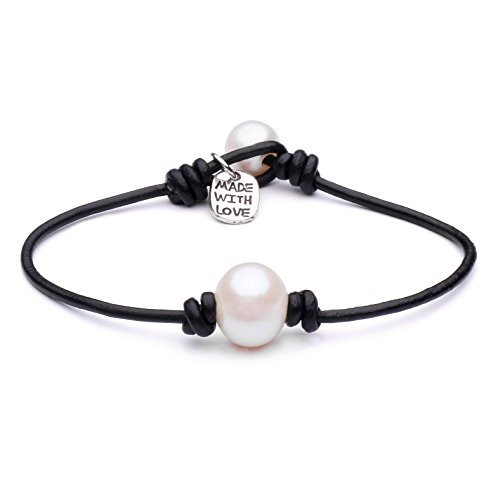 Cultured Freshwater Single Pearl Bracelet Handmade Genuine Leather Wrap Bracelet with Charm Jewelry Gift for Her 7.8'' -