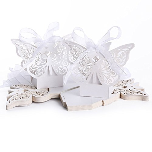 Tinksky 50pcs Laser Cut Wedding Favor Box Birthday Shower Party Candy Boxes (White)