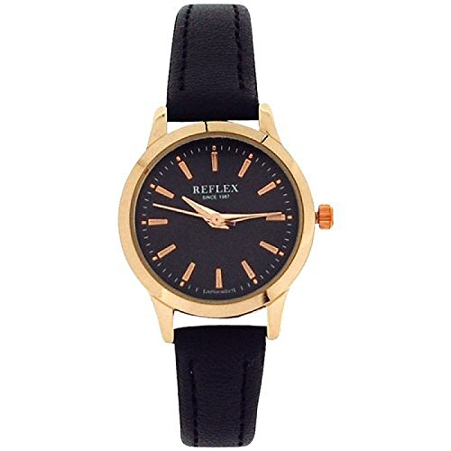 Reflex Ladies Analogue Rose-GoldTone Black Dial & PU Strap Watch REF0052