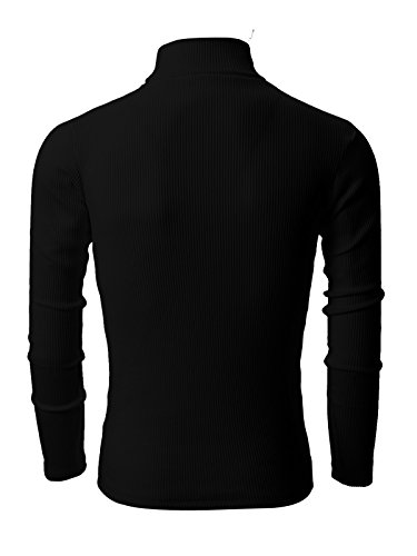 - Nyfashioncity Men's Basic Ribbed Cotton Thermal Turtleneck T-Shirts Small Black