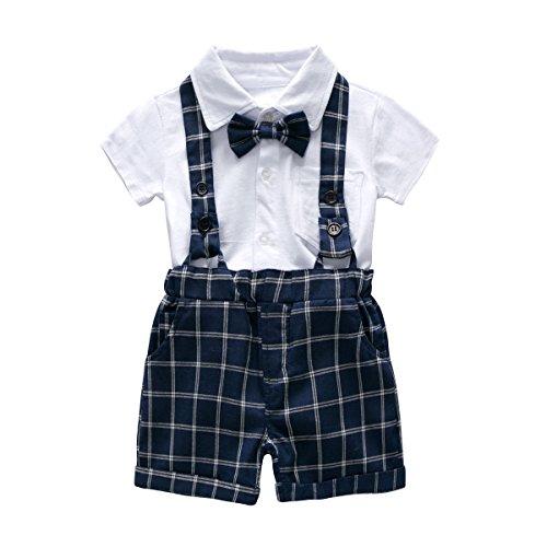 Baby Boy Shirt - FERENYI US Baby Boys Bowtie Gentleman Romper Jumpsuit Overalls Rompers (0-6 Months, Blue 2)