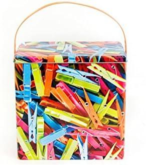 Multicolor Metal para pinzas de la ropa de lavado lata polvo caja de almacenaje con tapa y mango: Amazon.es: Bricolaje y herramientas