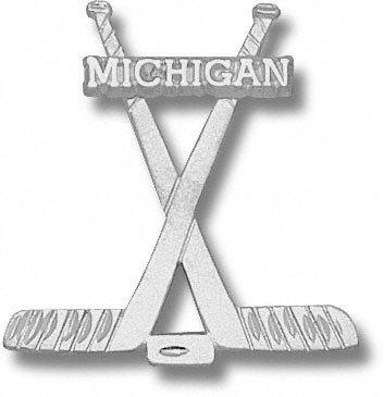 University of Michigan Hockey Stick Pendant - Sterling Silver