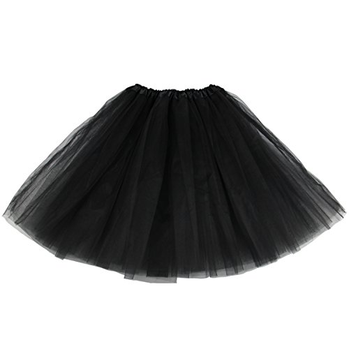 Lanzom Women's Classic Elastic 3-layered Tulle Tutu Skirt Ballet Party Costume (Black)