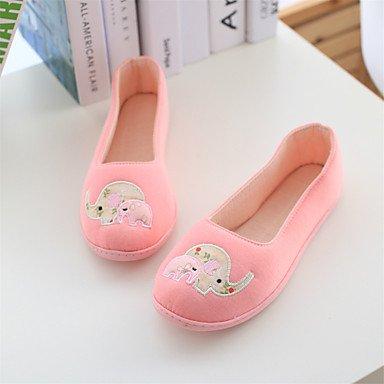mujeres Flat caída otros de zapatos las otros Casual y algodón Cómodo de soporte Heel elegante gris pisos gris comodidad rosa 0Rqzw4