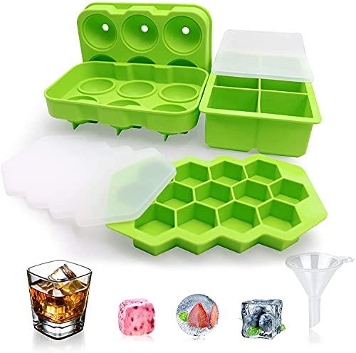 Eiswürfelform, 3er Eiswürfelbehälter mit Deckel Silikon Eiskugelform für Whisky Cocktails Bourbon Saft Süßigkeiten Fruchteiswürfel Saft, Wiederverwendbar & BPA Frei