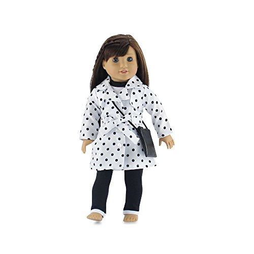 Trim Trench - 18 Inch Doll Clothes | Stylish Polka-Dot Trench Coat Outfit, Includes T-Shirt, Leggings and Cross Body Purse | Fits American Girl Dolls