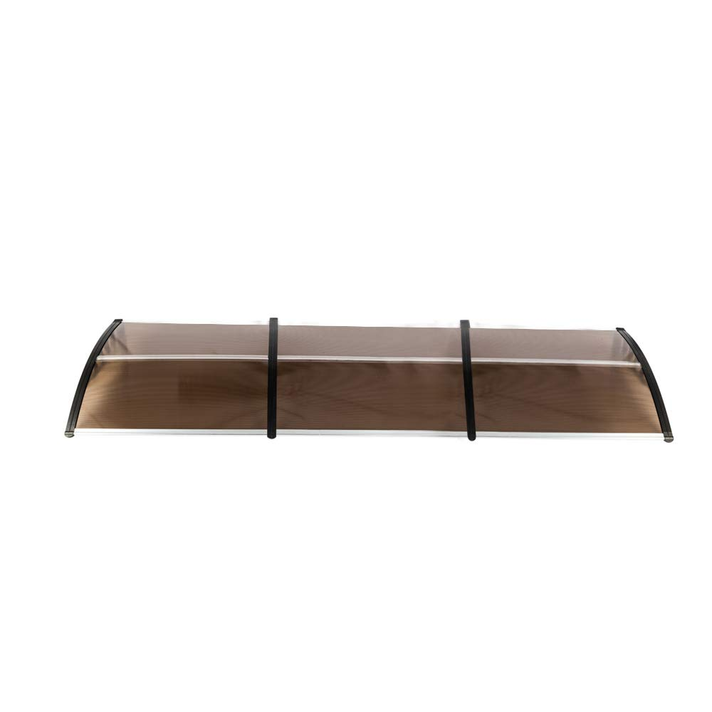 Hommo 40x 120 Polycarbonate Window Door Brown Awning with Bracket Overhead Cover Front Door Outdoor Patio Canopy Sun Shetter,UV,Rain Snow Protection Hollow Sheet