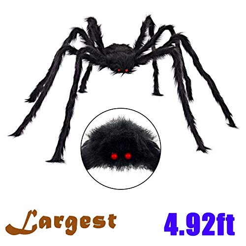 Halloween Decorations 5 Ft. Giant Halloween Spider Black Spider 150cm Large Spider Haunted House Prop Plush Spider Scary Decoration, Virtual Realistic Hairy Spider, - Posable Spider 50 Inch