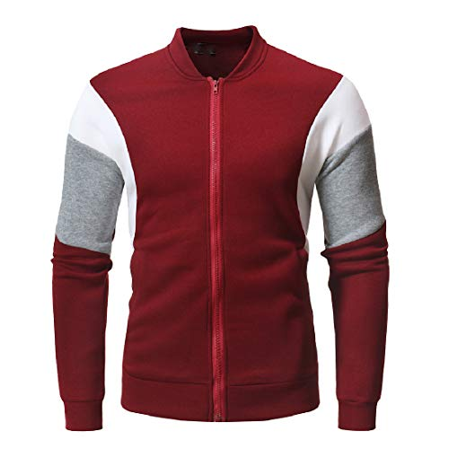 Red Lightweight Fleece Howme College Relaxed Contrast Wine Men Jacket Cotton 1HgzH
