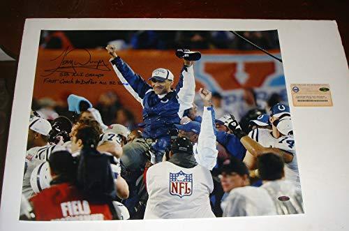 (Colts HOF Tony Dungy Autographed Signed Steiner 16x20 Photo 2 Inscriptions SB XLi)