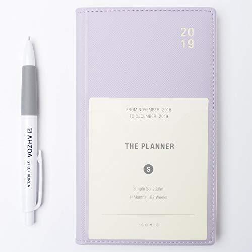 Planificador semanal de bolsillo 2019 con lápiz AHZOA, fecha impresa, Lavanda