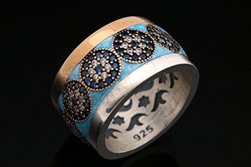 Nazar ! Turkish Handmade Blue Turquoise Color Enamel Evil Eye Sapphire Topaz Sterling Silver Ring All Sizes Available Enamel Evil Eye