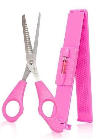 Healthcom Haircutting Tool Kit Professional Front Bangs Cutting And Trimming Tools DIY Hairstyling Salon Bangs Cut Kit,1 Set(Pink) by Healthcom (Image #2)