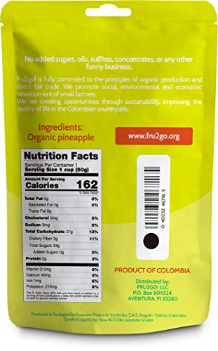 Fru2Go Organic, Dehydrated Pineapple Slices - 1.76 oz (Pack of 12) - No Sugar Added - All-Natural Pineapples - Raw - Direct Fair Trade Fruit - from Colombia by Fru2Go (Image #2)