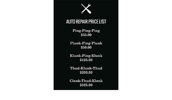 Auto Repair Price List Metal Sign