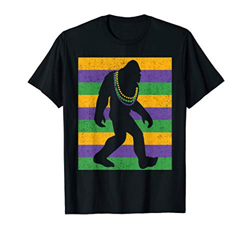 Bigfoot Mardi Gras T Shirt Sasquatch Funny Men Kids Gift Tee]()
