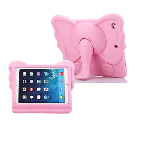 iPad Mini Kids Case, Tading Non-Toxic Child Friendly Light Weight EVA Foam Shockproof Super Protection Tablet Cover Holder with Kickstand for iPad Mini/ Mini 2/ Mini 3/ Mini 4 - Elephant Design, Pink
