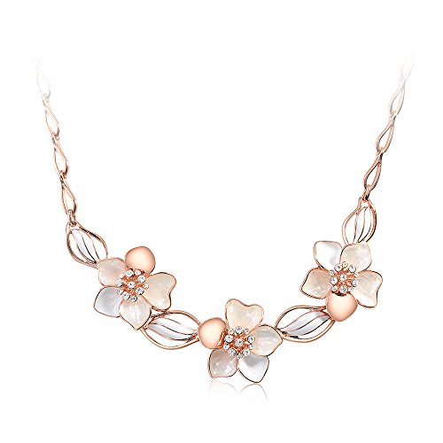 White Rose Flower Necklace - Glamorousky Fashion Rose Golden Plated Flower Necklace with White Austrian Element Crystal (23701)