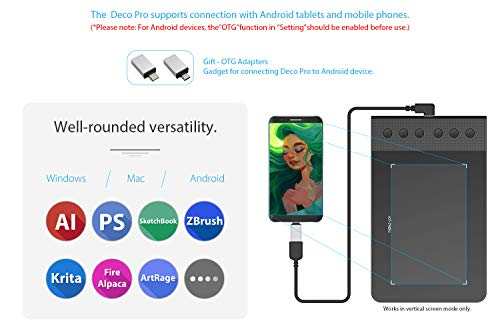 XP-PEN G640S Android Drawing Tablet Graphic Pen Tablet for OSU! 8192 Levels Pressure Digital Tablet with 6 Shortcut Keys and Battery-Free Stylus (6x3.75 Inch)