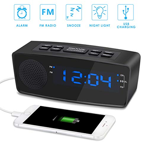Digital LED Alarm Clock Radio with FM Radio, Dual USB Port Charging, Blue Digit LED Display Dimmer, Sleep Timer, Snooze and Battery Backup for Bedrooms