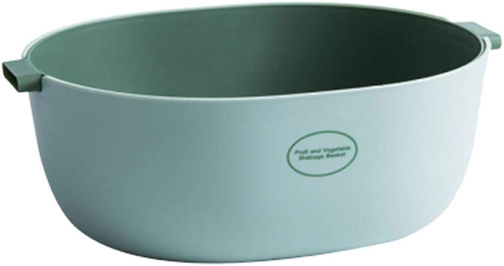 Yarnow Colador de Cocina Cuenco de Colador de Plástico Cesta de Lavado de Verduras Cuenco de Colador con Drenaje Automático para Uso Doméstico (Verde Claro)