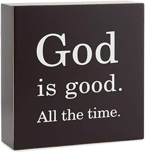 Hallmark God is Good All The Time Wood Quote Sign, 4x4 Plaques & Signs Religious