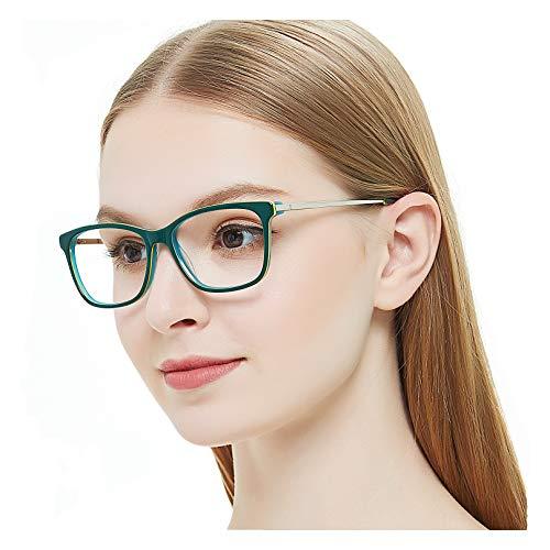 Optical Eyewear Non-prescription Eyeglasses Frame with Clear Lenses Glasses For Women (Black+Green) Vogue (Vogue Green)