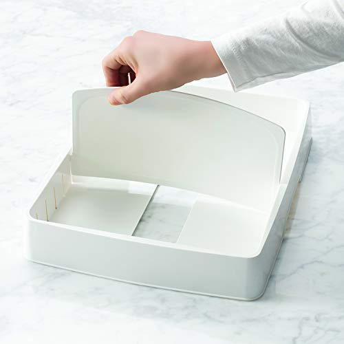 YouCopia StoraLid Food Container Lid Organizer, Large with Tall, White