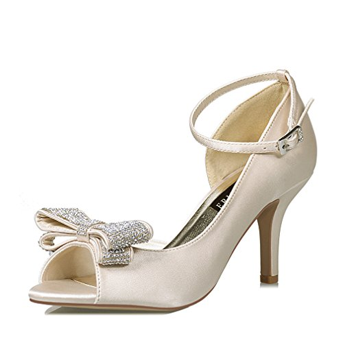ERIJUNOR E1599 Women Comfortable Middle Heel Peep Toe Bows Rhinestones Satin Wedding Evening Party Shoes Champagne US 8 Cream Satin Shoes