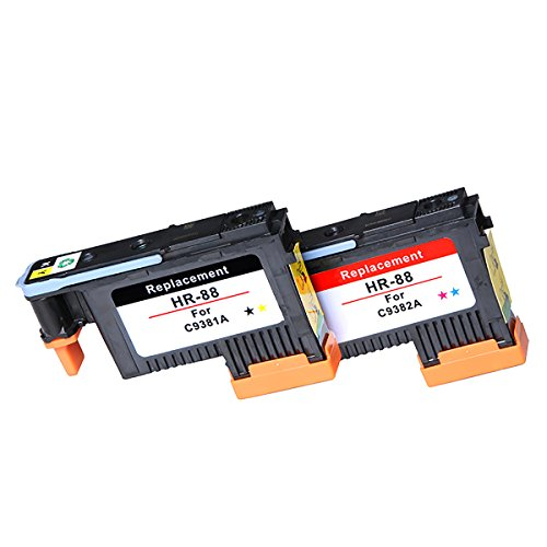HOTCOLOR 2PK 88 Printhead Black/Yellow C9381A Cyan/Magenta C9381A Work for HP Officejet Pro K5400 K5400dtn K5400dn K5400tn K550 K550dtn K550dtwn