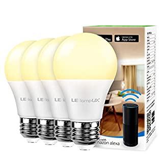 Smart LED Light Bulbs, Works with Alexa and Google Home, 60 Watt Equivalent, Dimmable with App, Warm White 2700K, No Hub Required, A19 E26, 2.4GHz WiFi, Pack of 4