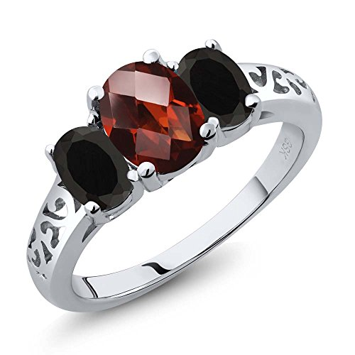 (Gem Stone King 2.18 Ct Oval Checkerboard Red Garnet Black Onyx 925 Sterling Silver 3 Stone Ring (Size 8))