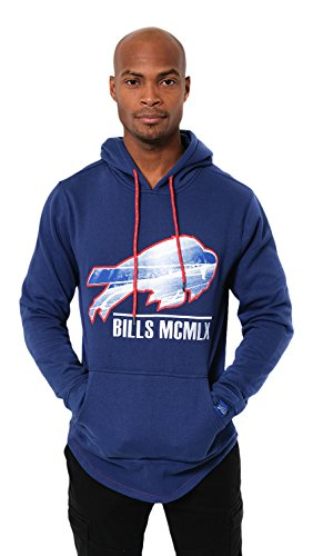 ICER Brands Adult Men Fleece Hoodie Pullover Sweatshirt Embroidered, Team Color, Blue, Medium