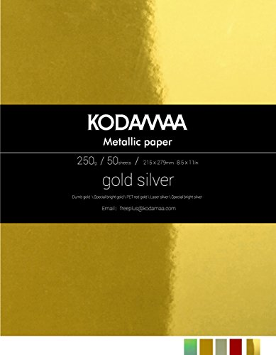 Kodamaa Premium Shimmer Art Craft Gold Silver Metallic Paper, Multipurpose Cardstock Perfect for Festival Crafting, Printing, Gift Packaging ()