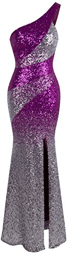 Angel-fashions Women's One Shoulder Sparkly Sequin Gradient Splicing Slit Bodycon Evening Dress (Halloween Costumes With Sparkly Bra)