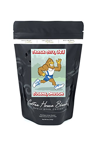 Bigfoot Jogging - Track City - Eugene, OR (8oz Whole Bean Small Batch Artisan Coffee - Bold & Strong Medium Dark Roast w/ Artwork) -