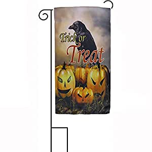 "12""x18"" Happy Halloween Trick Or Treat Crow Sleeved w/ Garden Stand Flag PREMIUM Vivid Color and UV Fade BEST Garden Outdor Decor Resistant Canvas Header and polyester material FLAG"