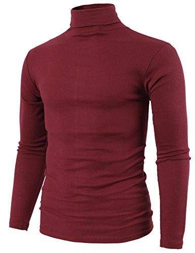 H2H Mens Daily Fashion Slim Fit Lightweight Turtle-Neck T-Shirt Wine US L/Asia XL (KMTTL0410) ()