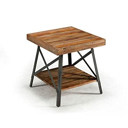 Amazoncom Emerald Home Chandler Rustic Wood End Table with Solid