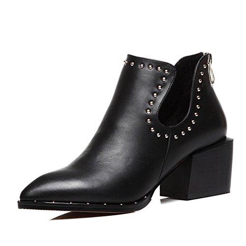 Lady Pointed Shoes,High Heel,Rough und hunderte von Studenten Kleine Schuhe-A Fußlänge=24.3CM(9.6Inch)