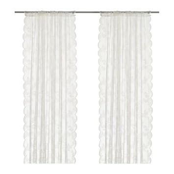 Ikea Alvine Spets Curtain Set 2 White, Kunstfaser, Weiß, 300 x 145