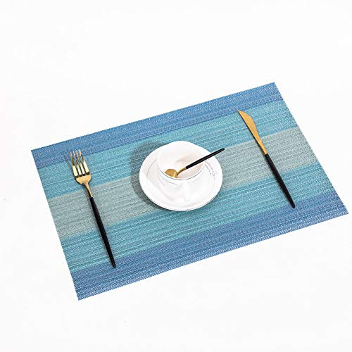 NEW Kitchen Table mats Stain Resistant Washable placemats for Dining Table Heat-Resistant Place mats Set 4 (Blue)