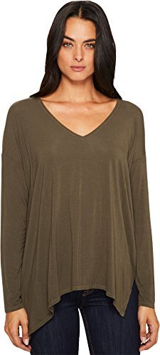 Lycra Stars - Michael Stars Women's Jersey Lycra Long Sleeve v-Neck with Side Slits, Loden, One Size
