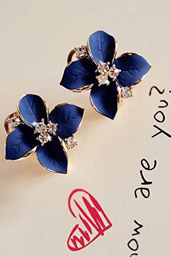 ol Sapphire Blue Diamond Creative Small Leaf Clover Earrings Earring Dangler Eardrop No Pierced Ear Clip Women Girls Fashion (There are Pierced Earrings. Pair