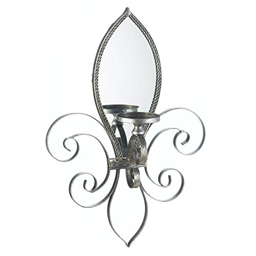 Fleur De Lis Wall Sconce With Mirror-2Pack by HD