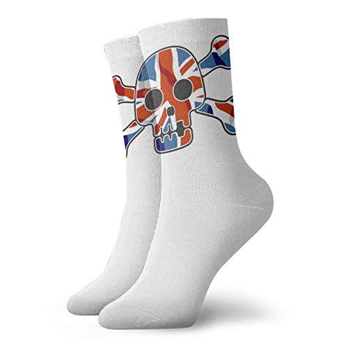 YUANSHAN Socks UK Flag Skull Women & Men