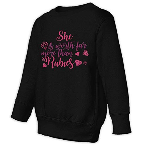 Xgbb She is Worth Far More Than Rubies Toddler Long Sleeve Pullover Sweatshirt Little Boys' Sweatshirt Black 3T]()